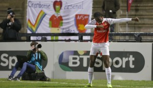 Asisat Oshoala celebrates scoring Gunners second goal (Photo by Alex Morton - The FA/The FA via Getty Images)""