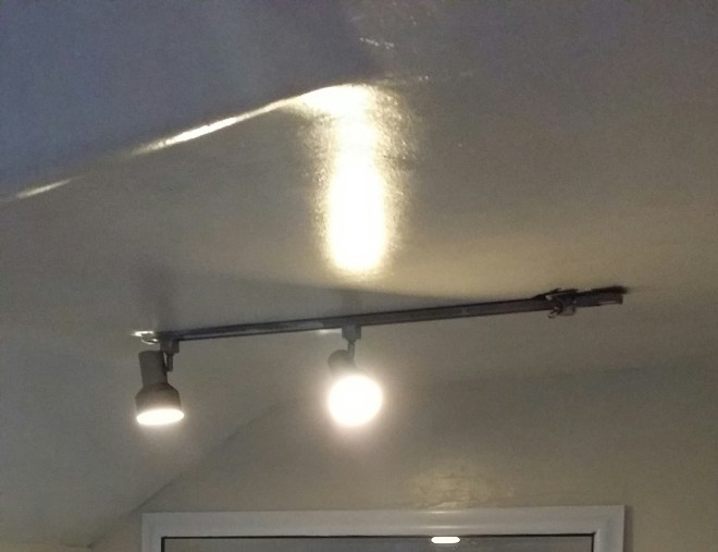 Track lighting isn't always bad, but this one had seen better days.