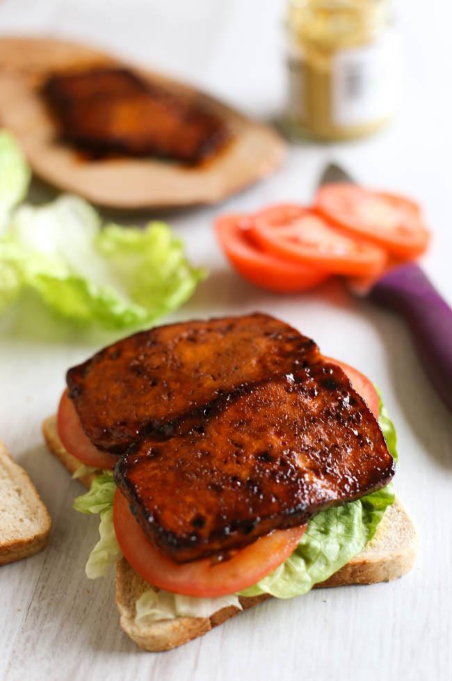 Tofu Bacon Lettuce and Tomato Sandwich