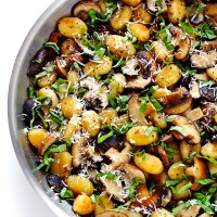 Try This---Delicious Pan-Fried Gnocchi in a Mushroom Basil Wine Sauce
