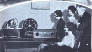 """Radio's latest surprise, talking pictures in color, will soon be available to every home. Artists are now to literally stage performances in your living room."""
