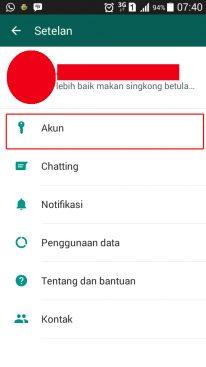 pilihan settingan pada whatsapp