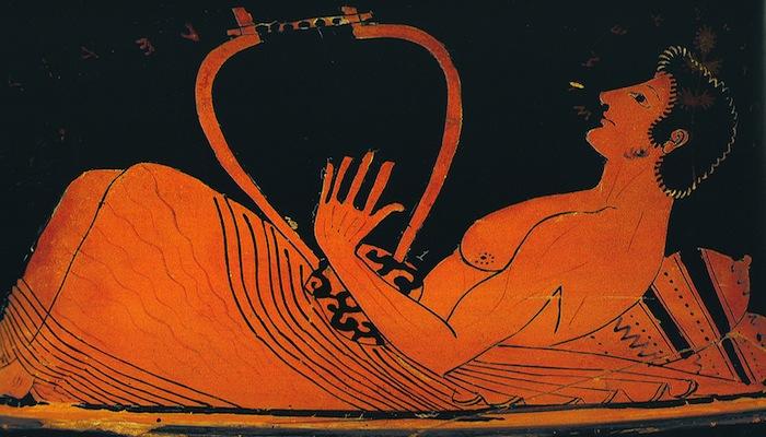 Imagen de un cuenco griego donde aparece un músico con una lira