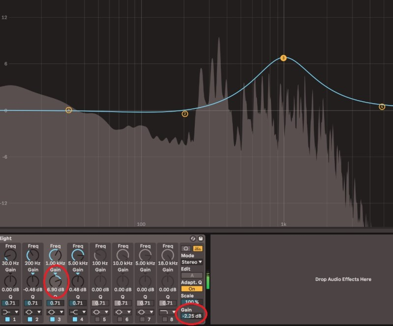 Traitement EQ Ableton level match