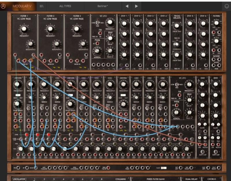 Contrôles de modulation Modular V Arturia