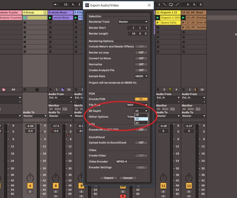 Choix de la dynamique sonore d'un export wav