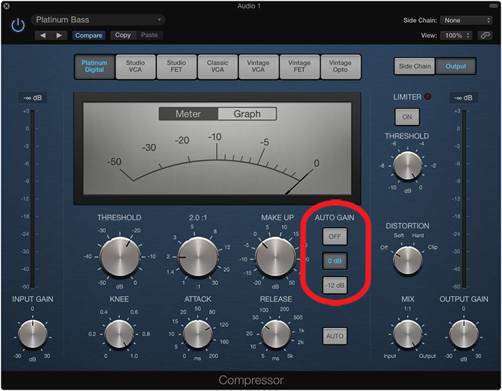 Make up gain automatique sur le compresseur de logic pro