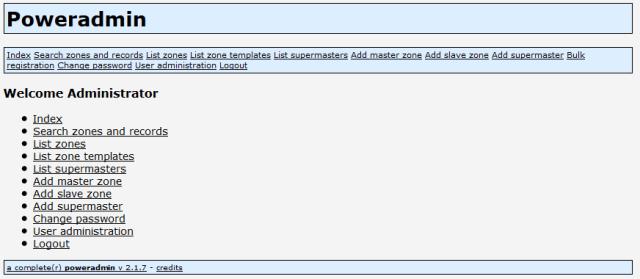 Setup PowerDNS PowerAdmin Web GUI