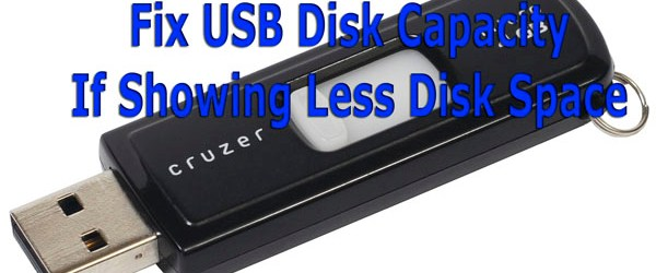 Fix USB Disk Capacity If Showing Less Disk Space