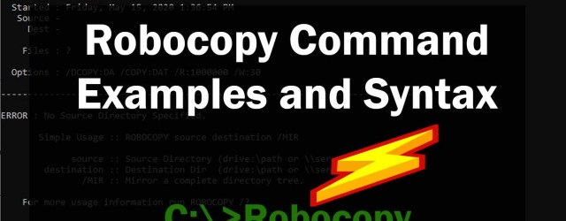 Windows Robocopy Examples and Syntax