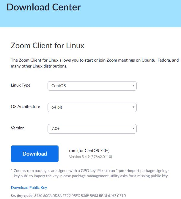 download zoom for Linux