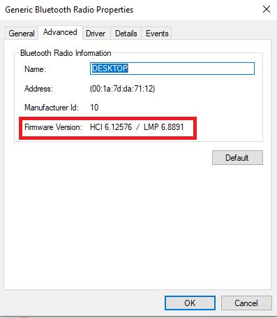 check Bluetooth version on Windows 10
