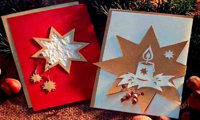 Жаңа жылдық ашық хаттар өзіңіз жасайды: Рождество ашықхаттары біртіндеп