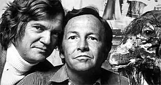 Screen capture of Robert Hughes and Robert Rauschenberg from The  Mona Lisa Curse.