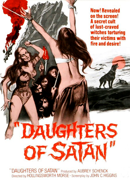 """Movie poster for the low-budget 1972 American horror film, """"Daughters of Satan."""" The low-brow kitsch aesthetics embodied in this poster animates the """"high-art"""" of Abramović."""
