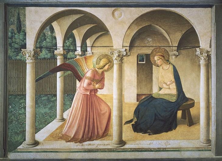 Благовещение , фреска Фра Анджелико, 1438–45; в музее Сан-Марко, Флоренция.