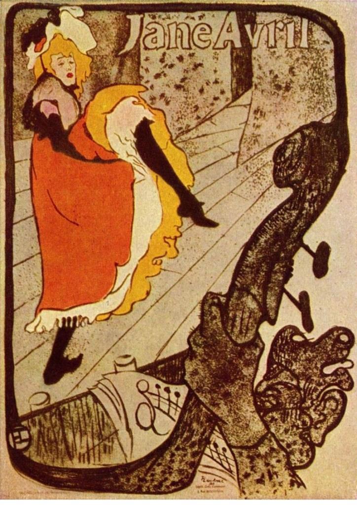 Джейн Аврил , литографический плакат Анри де Тулуз-Лотрека, 1893; в музее Тулуз-Лотрека, Альби, Франция.