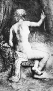«Женщина со стрелой», гравюра Рембрандта, 1661