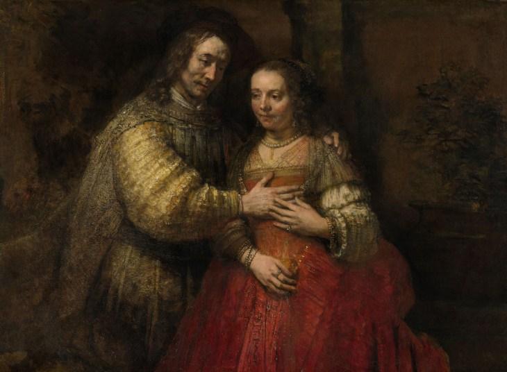 Портрет пары в роли Исаака и Ребекки (также известной как Еврейская невеста ), холст, масло, Рембрандт ван Рейн, ок. 1665-69; в Рейксмузеуме, Амстердам. 121,5 × 166,5 см.