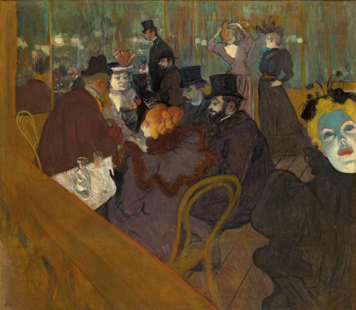 На Мулен Руж , холст, масло Анри де Тулуз-Лотрек, 1893–95; в художественном институте чикаго.