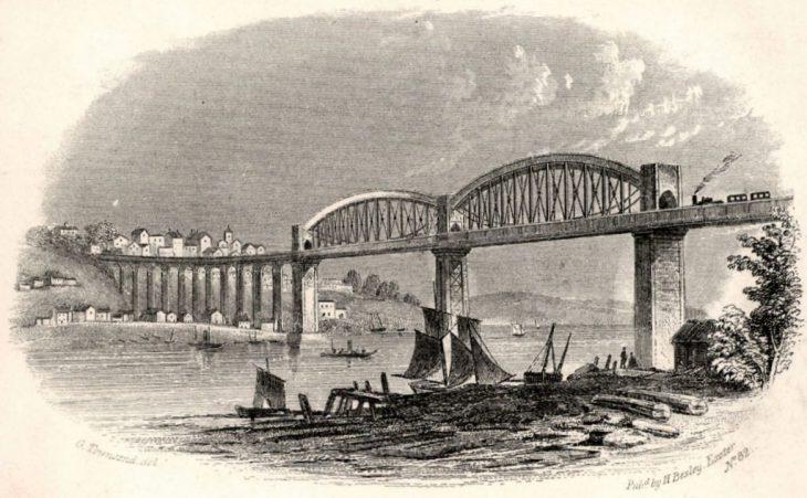 Королевский мост Альберта (1859) через реку Тамар в Солташе, Англия, спроектированный Исамбардом Королевством Брунел.