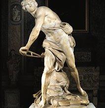 «Давид», мраморная скульптура Джана Лоренцо Бернини, 1623–24. В галерее Боргезе, Рим.