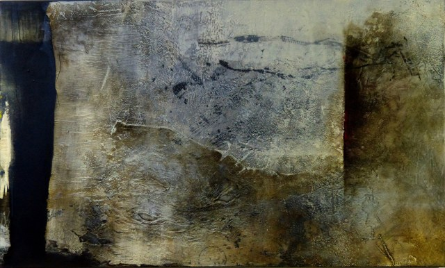 """Feldlinie ***Sold*** by Carole Kohler """"Dimension H 90 * W 150 * D 4.5 cm """" – Acrylic on Canvas – Mixed Media, natural fibers, and Pigments"""
