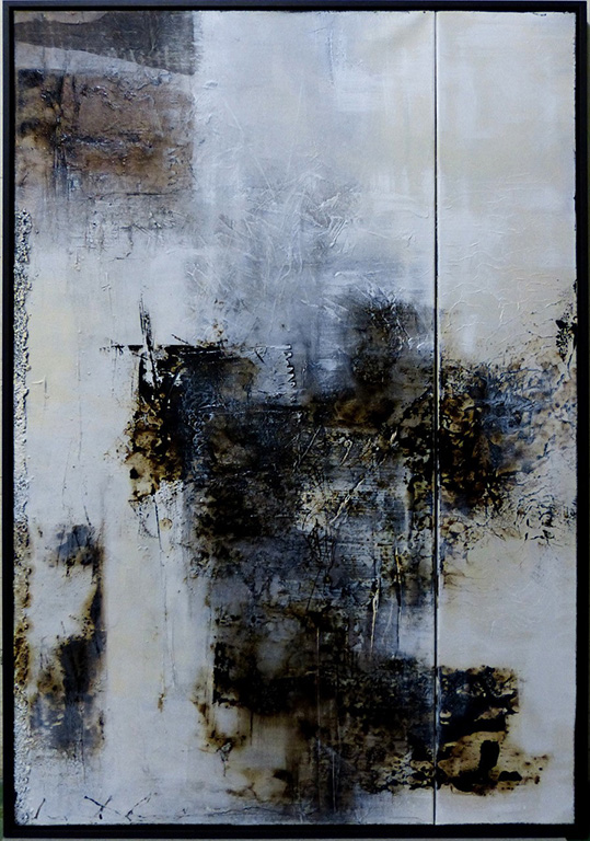 """Better together 2 by Carole Kohler """"Dimension H 124 * W 83 * D 3 cm """" – Acrylic on Canvas – Mixed Media, natural fibers, and Pigments"""