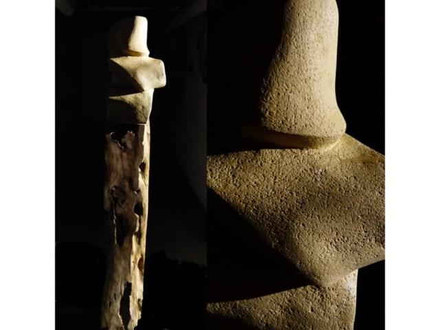L'instant éternel 1 - Sculpture en Calcaire de Lacoste et bois d'olivier - Carole Kohler (a)