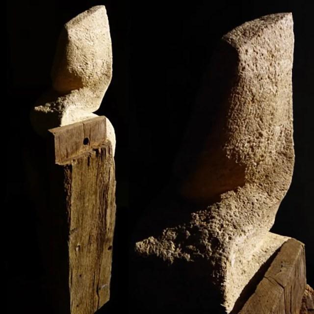 L'instant éternel 3 - Sculpture en Calcaire du Pont_du_Gard, bois de chêne et fonte - Carole Kohler (b)