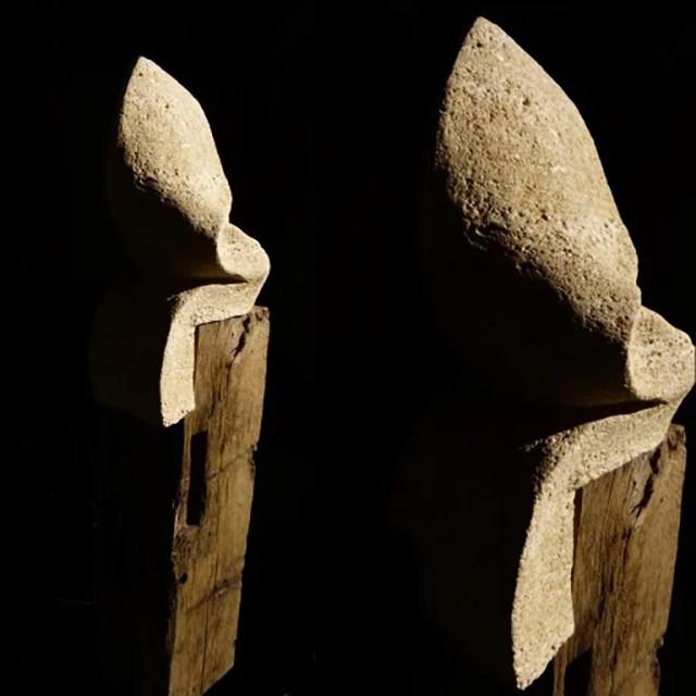 L'instant éternel 3 - Sculpture en Calcaire du Pont_du_Gard, bois de chêne et fonte - Carole Kohler (c)