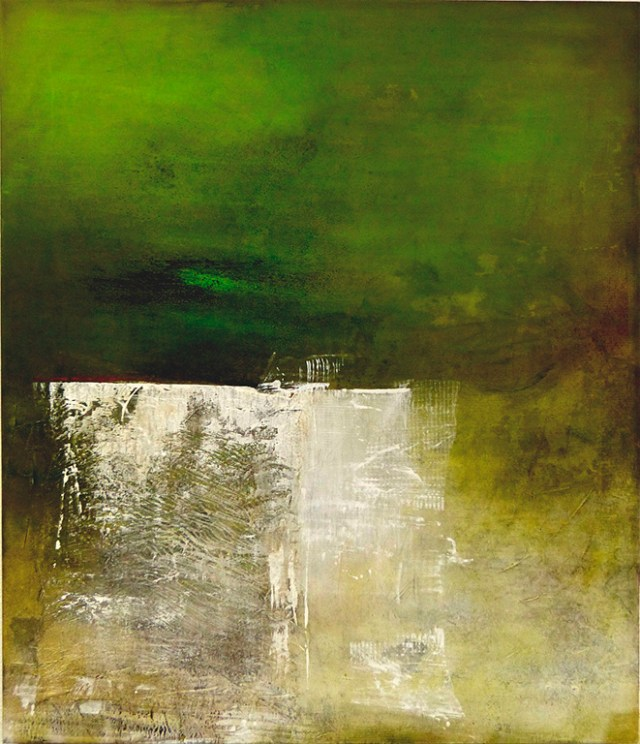 """Greenfresh by Carole Kohler """"Dimension H 120 * W 140 * D 4.5 cm """" – Acrylic on Canvas – Mixed Media, natural fibers, and Pigments"""