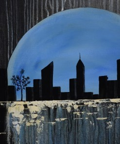 Close lookup of Moon cityscape