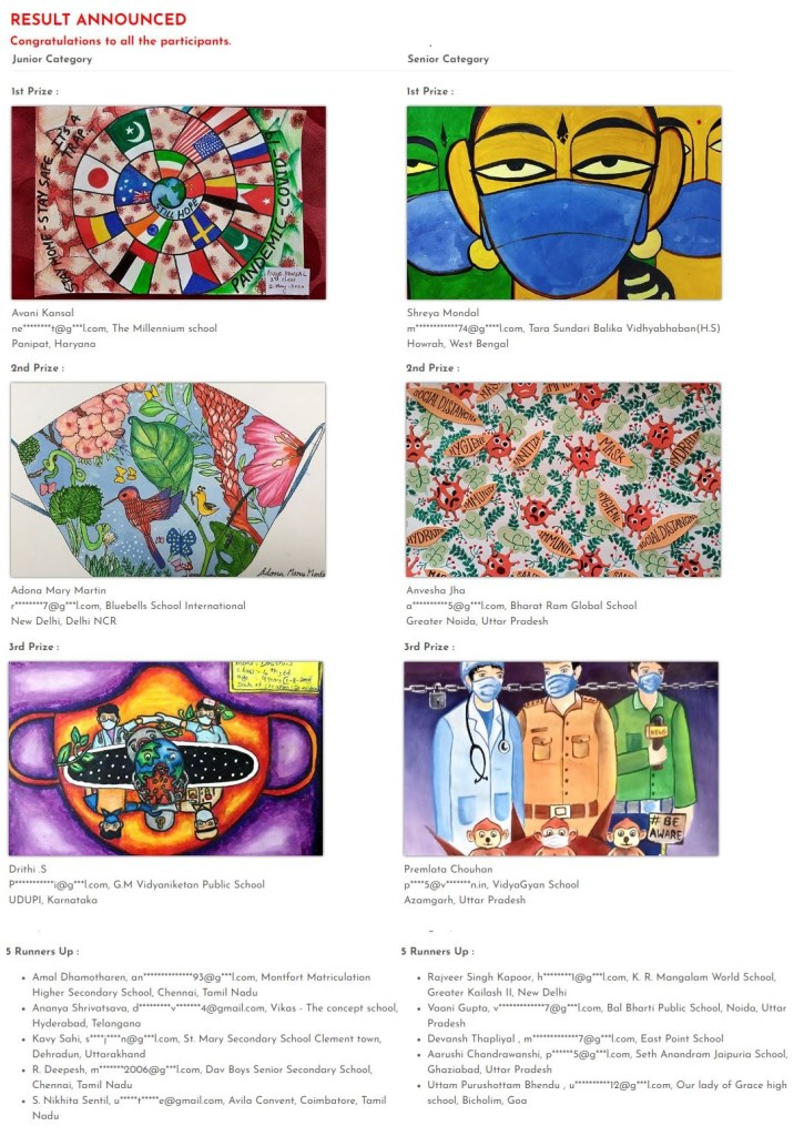 KNMA- Mask-a-Thon online drawing competition 2020 result.