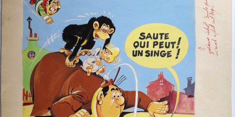 """Jean Chakir, couverture originale """"Saute qui peut ! Un singe !"""" du périodique Pilote, juin 1966, gouache"""