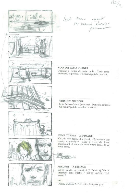 Storyboard original d'Enki Bilal - Immortel (ad vitam) - Galerie Art Maniak