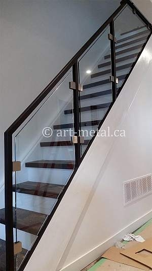 Modern Stair Railing Designs From Metal Wood Glass Etc   Modern Glass Stair Railing   Dark Wood   Banister   Wall Mounted   Cost   Basement