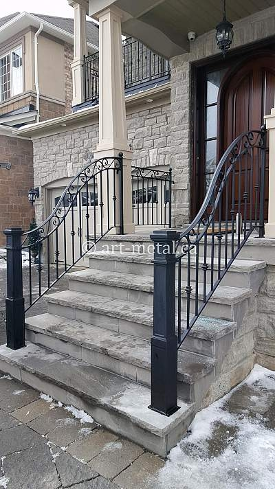 Exterior Metal Stair Railing For Safety And The Look Of Your Home | Outdoor Metal Stair Railing | Ornamental | Banister | Custom | Urban Metal Deck | Garden