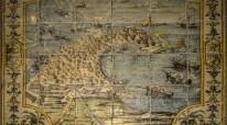 Pavimento con veduta di Trapani, secolo XVIII