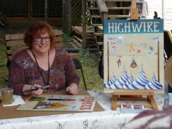 """Katharine Gracey adding a new painting to her """"Circus"""" collection"""