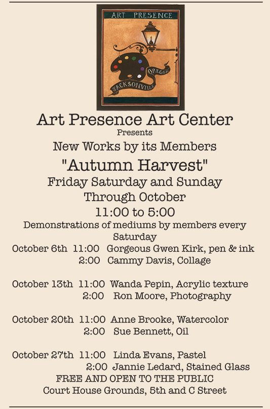 "Art Presence Art Center Announces ""Autumn Harvest"" October Gallery Exhibit"