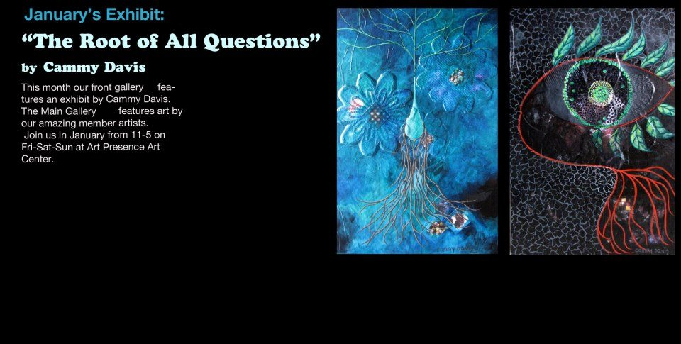 Announcement of Artist Reception for Cammy's solo show in the front gallery, Feb 11, 2013