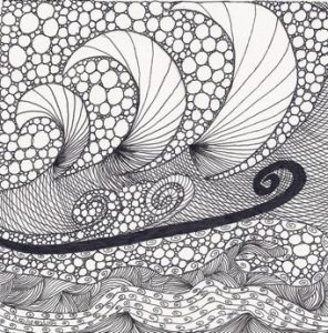 Chasing Waves, pen and ink Zentangle® by Betty Barss