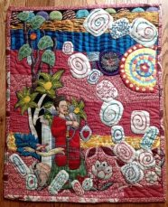 """""""Frida's Garden"""" embroidered quilt wall hanging by Charlotte Wirfs"""