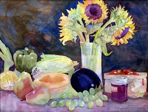 """Bountiful Harvest"" watercolor painting by Anne Brooke"