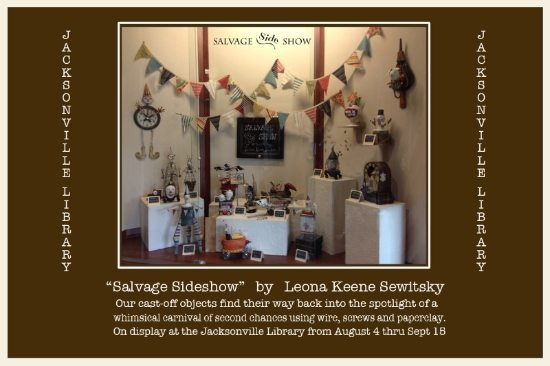 Salvage Sideshow, exhibit of sculptural assemblage works by Leone Keene Sewitsky
