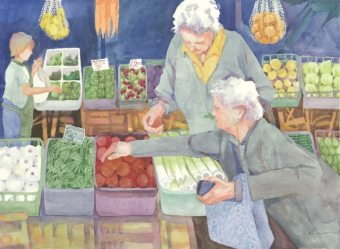 Italian Shoppers, watercolor painting by Anne Brooke