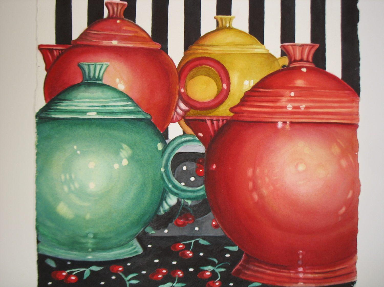 Teatime II, watercolor by Linda Abblett
