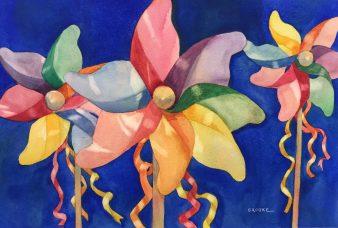 Pinwheels, Watercolor by Anne Brooke