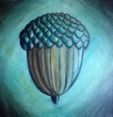 Acorn Falls, painting of an acorn in blueby Anna Elkins